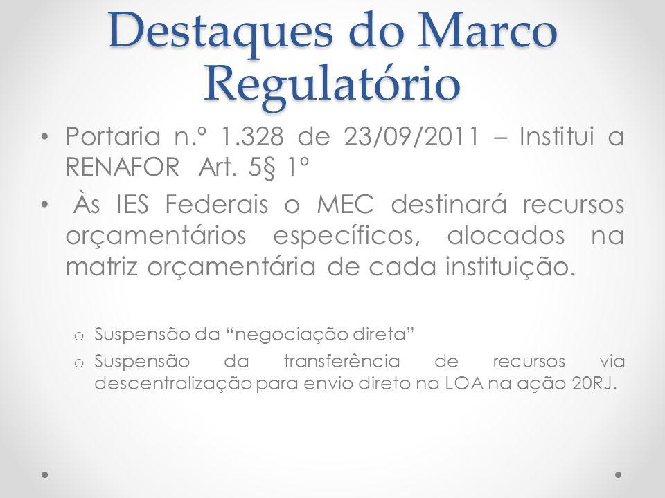 Destaques do Marco Regulatório Portaria n.º 1.328 de 23/09/2011 – Institui a RENAFOR Art. 5§ 1º Às IES Federais o MEC destinará recursos orçamentários