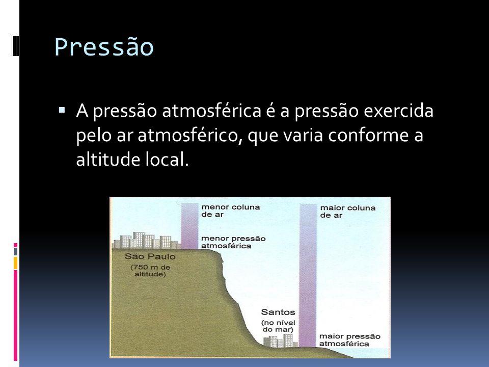 Pressão  A pressão atmosférica é a pressão exercida pelo ar atmosférico, que varia conforme a altitude local.