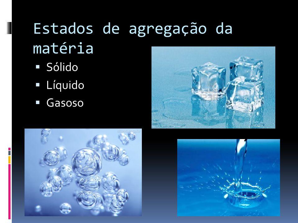 Estados de agregação da matéria  Sólido  Líquido  Gasoso