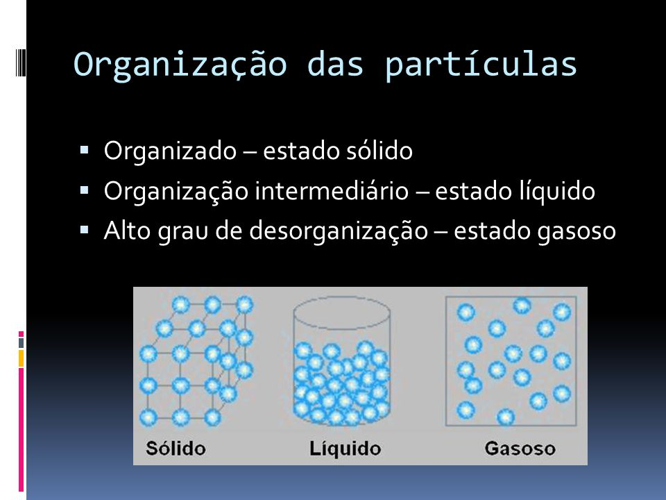 Organização das partículas  Organizado – estado sólido  Organização intermediário – estado líquido  Alto grau de desorganização – estado gasoso