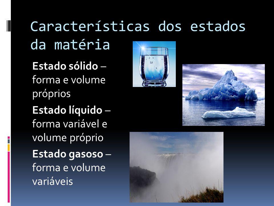 Características dos estados da matéria Estado sólido – forma e volume próprios Estado líquido – forma variável e volume próprio Estado gasoso – forma