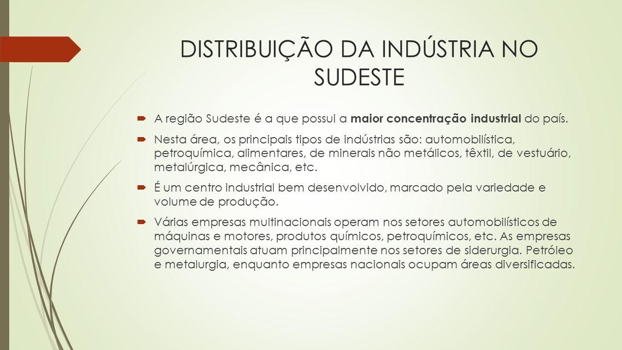 DISTRIBUIÇÃO DA INDÚSTRIA NO SUDESTE  A região Sudeste é a que possui a maior concentração industrial do país.  Nesta área, os principais tipos de i