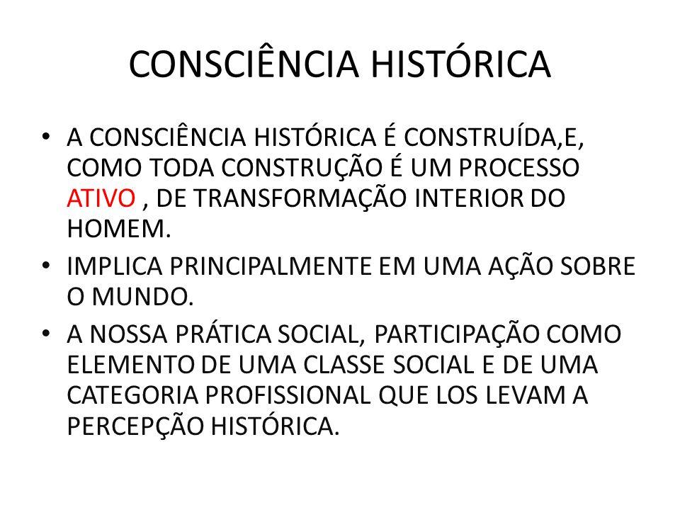 CONSCIÊNCIA HISTÓRICA A CONSCIÊNCIA HISTÓRICA É CONSTRUÍDA,E, COMO TODA CONSTRUÇÃO É UM PROCESSO ATIVO, DE TRANSFORMAÇÃO INTERIOR DO HOMEM. IMPLICA PR