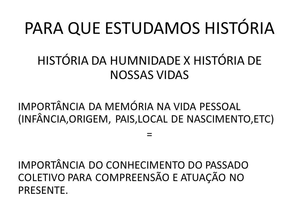 PARA QUE ESTUDAMOS HISTÓRIA HISTÓRIA DA HUMNIDADE X HISTÓRIA DE NOSSAS VIDAS IMPORTÂNCIA DA MEMÓRIA NA VIDA PESSOAL (INFÂNCIA,ORIGEM, PAIS,LOCAL DE NA