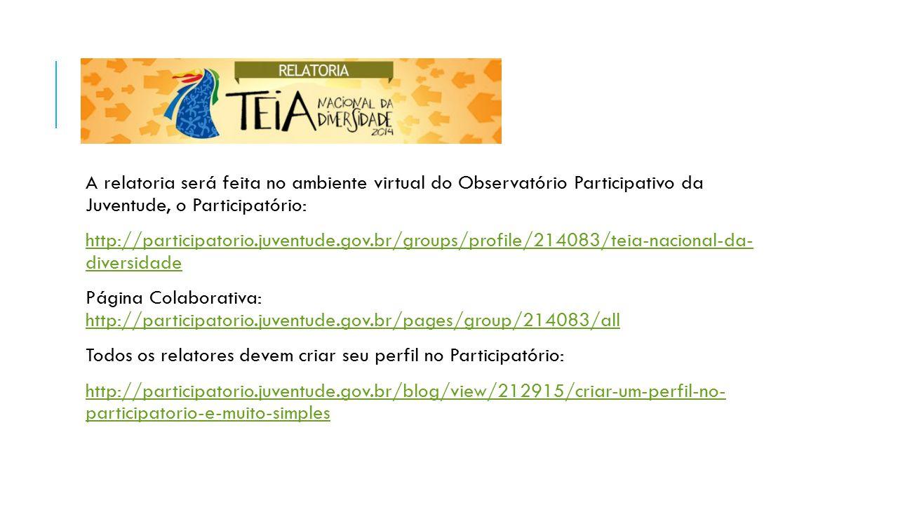 A relatoria será feita no ambiente virtual do Observatório Participativo da Juventude, o Participatório: http://participatorio.juventude.gov.br/groups