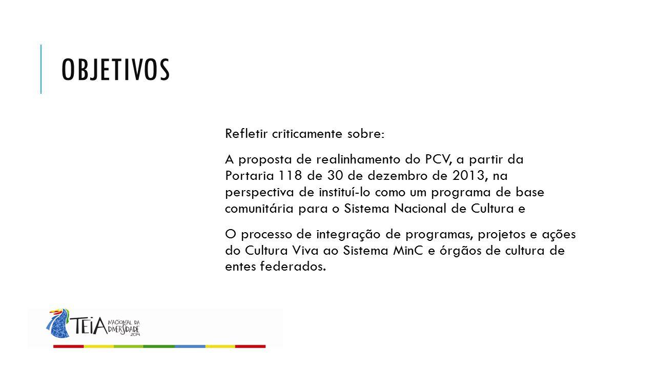 OBJETIVOS Refletir criticamente sobre: A proposta de realinhamento do PCV, a partir da Portaria 118 de 30 de dezembro de 2013, na perspectiva de insti