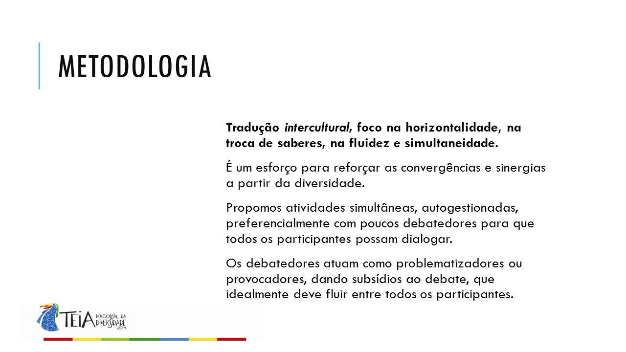 METODOLOGIA Tradução intercultural, foco na horizontalidade, na troca de saberes, na fluidez e simultaneidade. É um esforço para reforçar as convergên