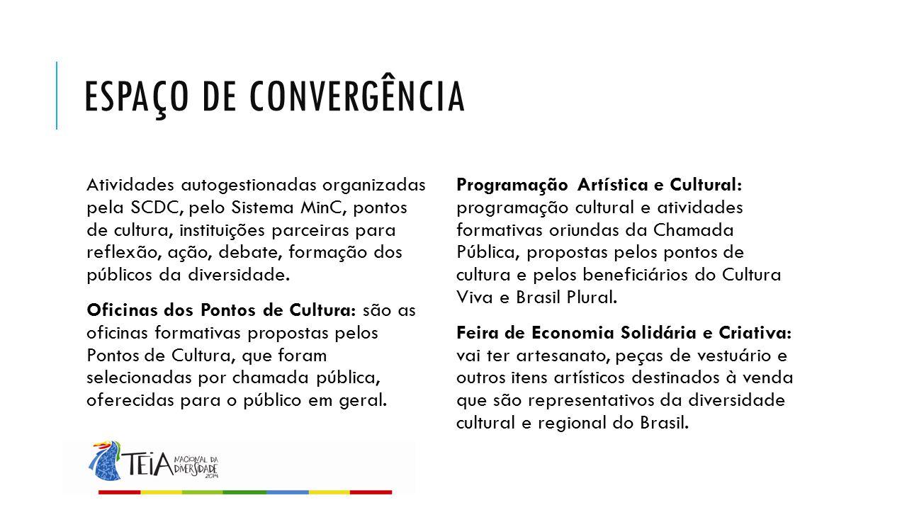 ESPAÇO DE CONVERGÊNCIA Atividades autogestionadas organizadas pela SCDC, pelo Sistema MinC, pontos de cultura, instituições parceiras para reflexão, a