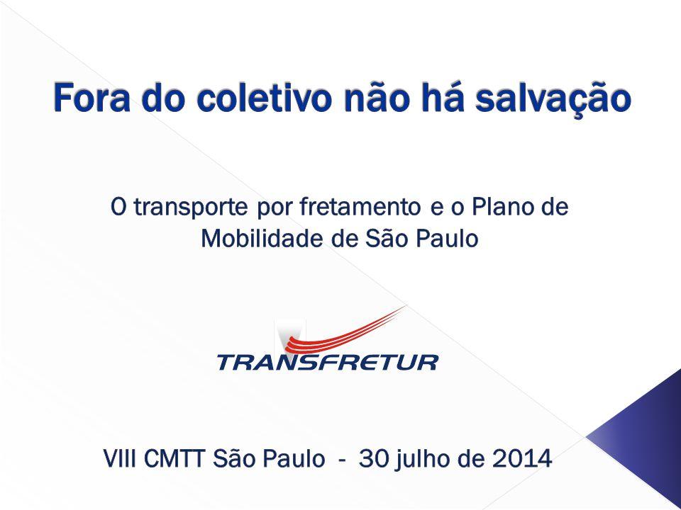 Conselho Municipal de Transporte e Trânsito Transfretur São Paulo, 30-7-2014 Transporte por fretamento e sociedade Participação do fretamento nas viagens, cidades selecionadas do Brasil O caso da RMSP Viagens/dia1.206.000 12