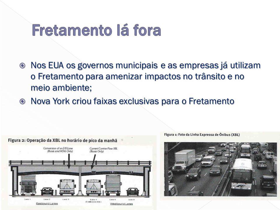  Nos EUA os governos municipais e as empresas já utilizam o Fretamento para amenizar impactos no trânsito e no meio ambiente;  Nova York criou faixas exclusivas para o Fretamento 44