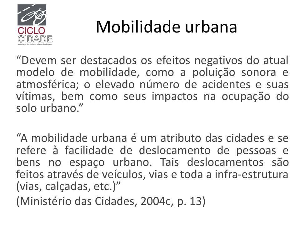 """Mobilidade urbana """"Devem ser destacados os efeitos negativos do atual modelo de mobilidade, como a poluição sonora e atmosférica; o elevado número de"""