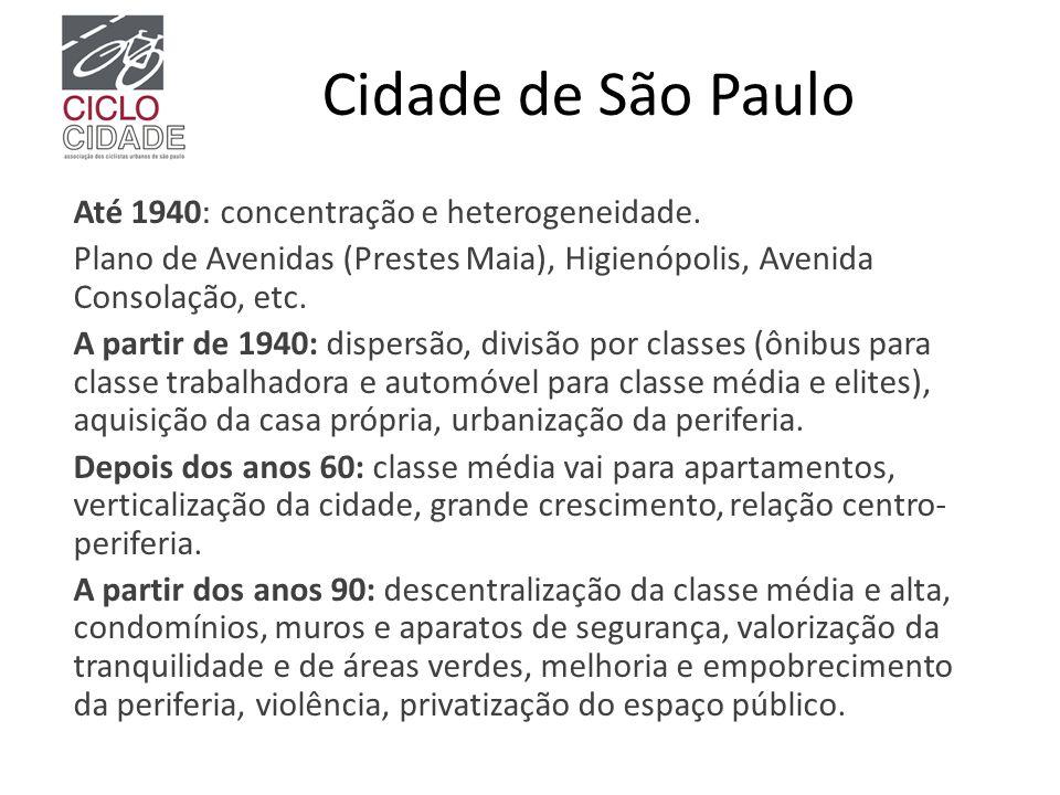 Cidade de São Paulo Até 1940: concentração e heterogeneidade. Plano de Avenidas (Prestes Maia), Higienópolis, Avenida Consolação, etc. A partir de 194