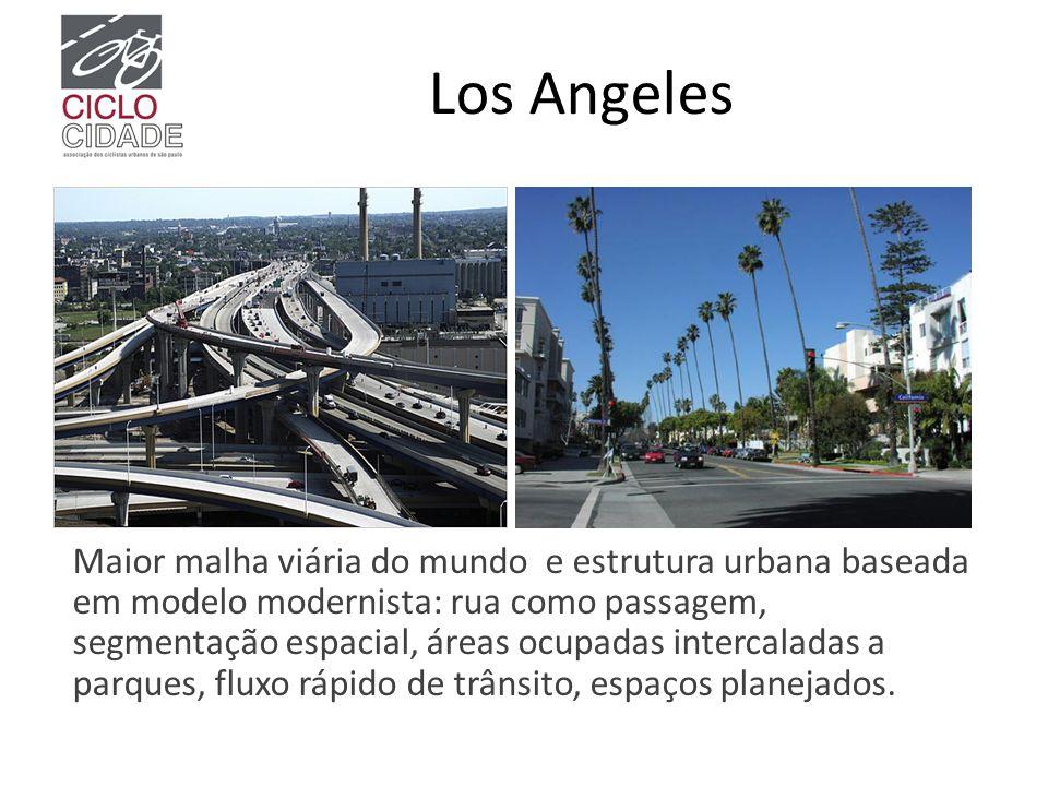 Los Angeles Maior malha viária do mundo e estrutura urbana baseada em modelo modernista: rua como passagem, segmentação espacial, áreas ocupadas inter