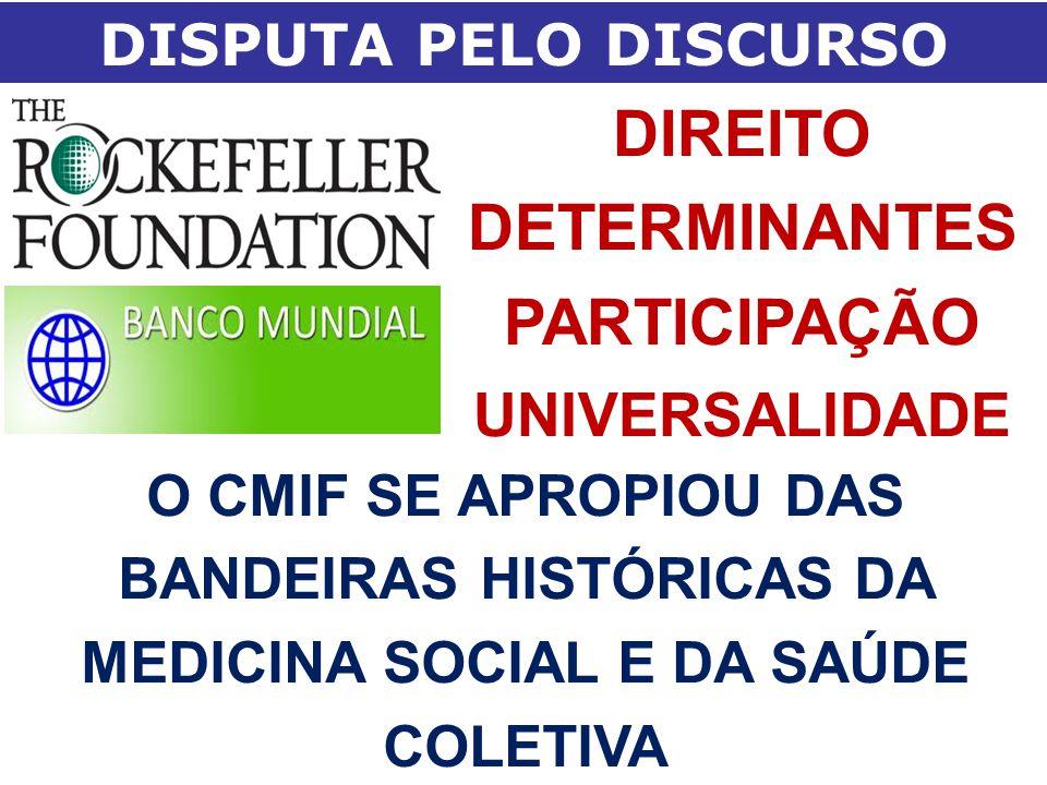 DISPUTA PELO DISCURSO DIREITO DETERMINANTES PARTICIPAÇÃO UNIVERSALIDADE O CMIF SE APROPIOU DAS BANDEIRAS HISTÓRICAS DA MEDICINA SOCIAL E DA SAÚDE COLE