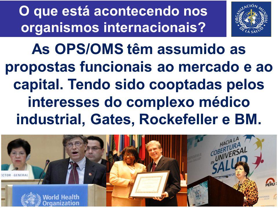 O que está acontecendo nos organismos internacionais? As OPS/OMS têm assumido as propostas funcionais ao mercado e ao capital. Tendo sido cooptadas pe