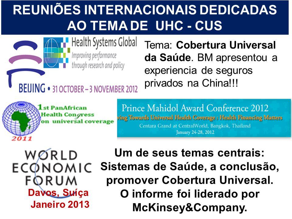 Tema: Cobertura Universal da Saúde. BM apresentou a experiencia de seguros privados na China!!! REUNIÕES INTERNACIONAIS DEDICADAS AO TEMA DE UHC - CUS