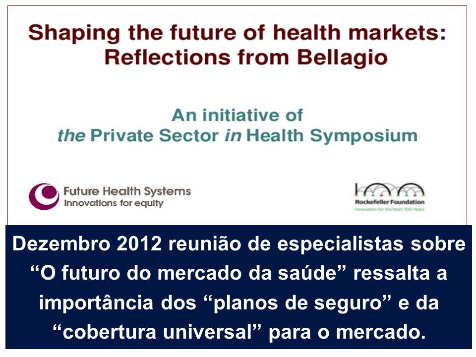 """Dezembro 2012 reunião de especialistas sobre """"O futuro do mercado da saúde"""" ressalta a importância dos """"planos de seguro"""" e da """"cobertura universal"""" p"""