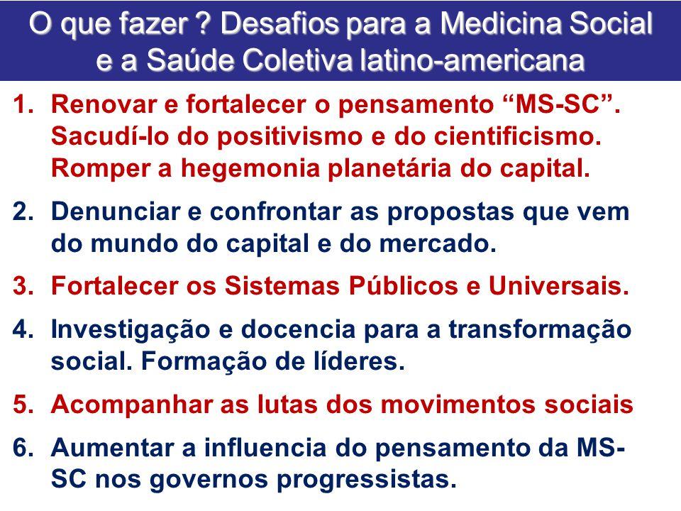 """O que fazer ? Desafios para a Medicina Social e a Saúde Coletiva latino-americana 1.Renovar e fortalecer o pensamento """"MS-SC"""". Sacudí-lo do positivism"""