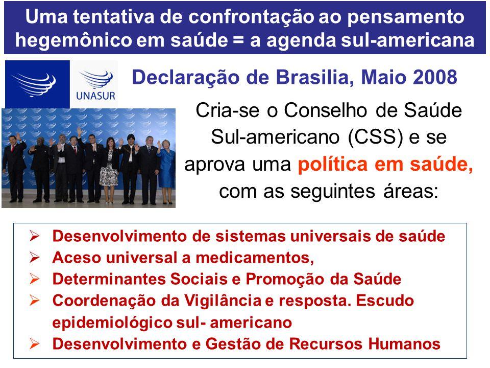 Declaração de Brasilia, Maio 2008  Desenvolvimento de sistemas universais de saúde  Aceso universal a medicamentos,  Determinantes Sociais e Promoç