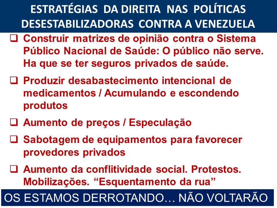 ESTRATÉGIAS DA DIREITA NAS POLÍTICAS DESESTABILIZADORAS CONTRA A VENEZUELA  Construir matrizes de opinião contra o Sistema Público Nacional de Saúde: