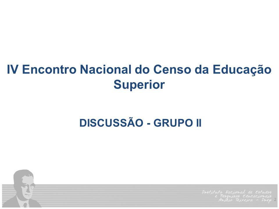 2 IV Encontro Nacional do Censo da Educação Superior DISCUSSÃO - GRUPO II