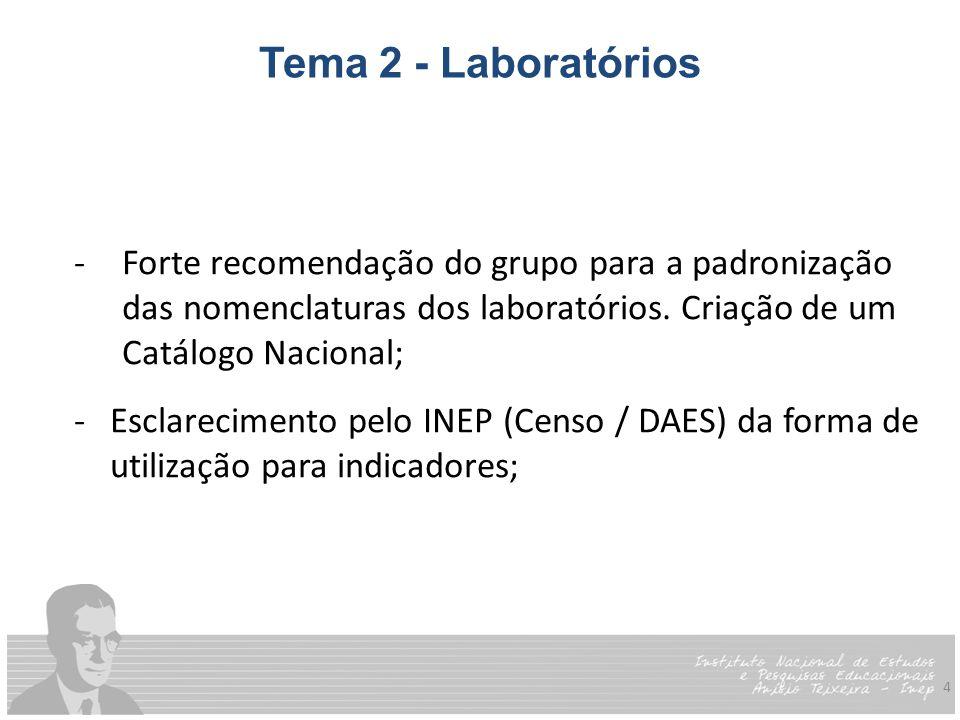 4 Tema 2 - Laboratórios -Forte recomendação do grupo para a padronização das nomenclaturas dos laboratórios.