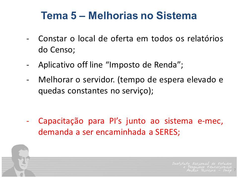 7 Tema 5 – Melhorias no Sistema -Constar o local de oferta em todos os relatórios do Censo; -Aplicativo off line Imposto de Renda ; -Melhorar o servidor.