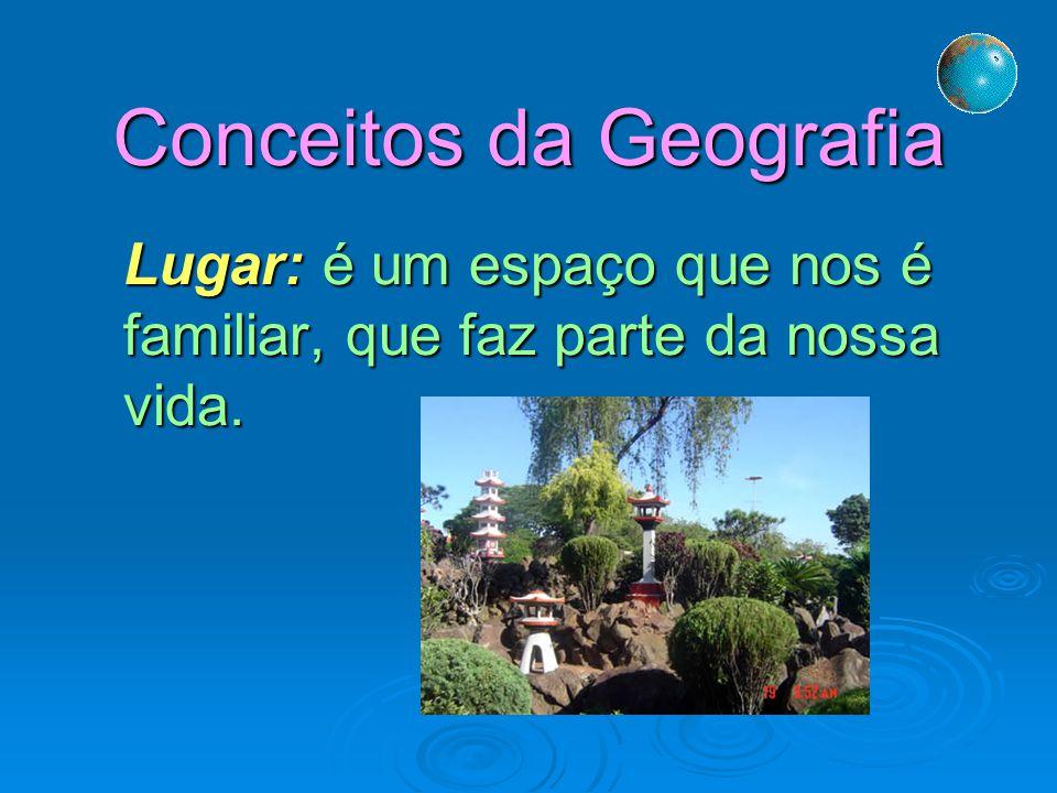 Conceitos da Geografia Lugar: é um espaço que nos é familiar, que faz parte da nossa vida.