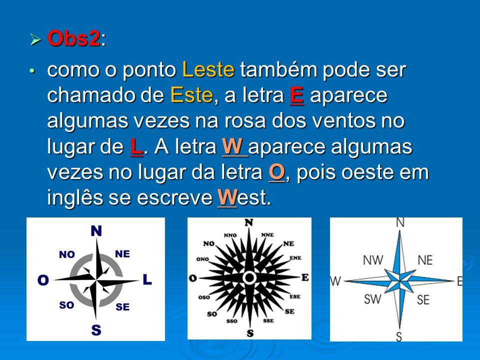  Obs2: como o ponto Leste também pode ser chamado de Este, a letra E aparece algumas vezes na rosa dos ventos no lugar de L. A letra W aparece alguma