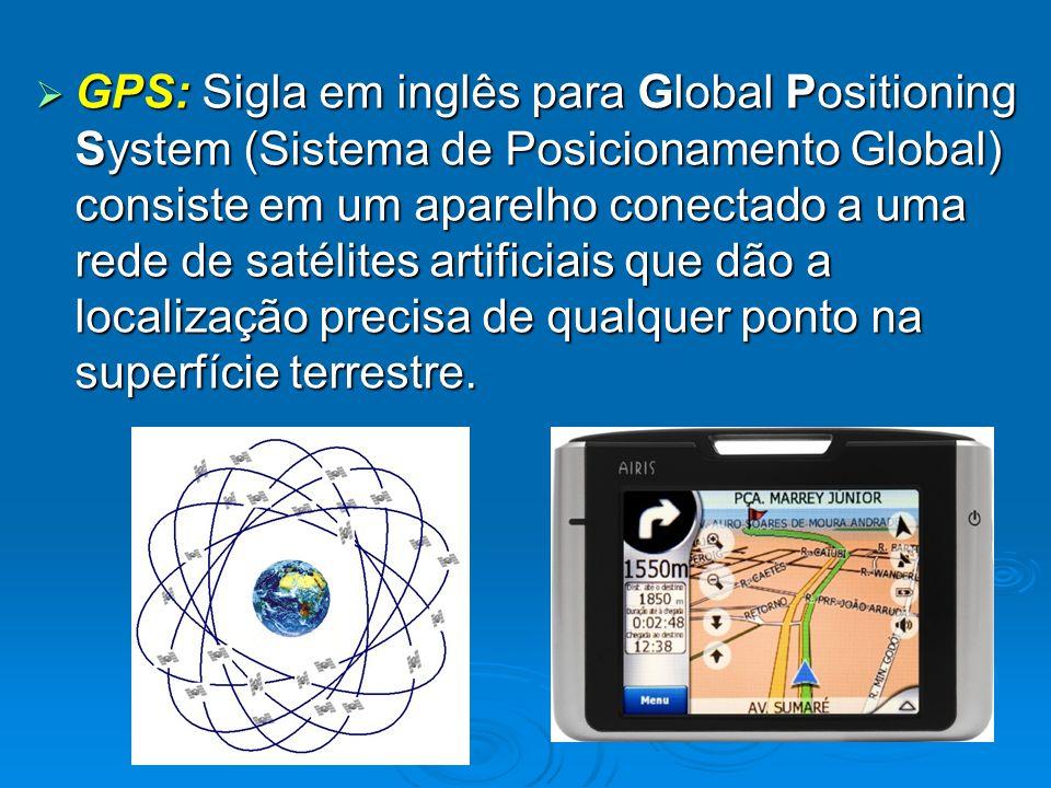  GPS: Sigla em inglês para Global Positioning System (Sistema de Posicionamento Global) consiste em um aparelho conectado a uma rede de satélites art