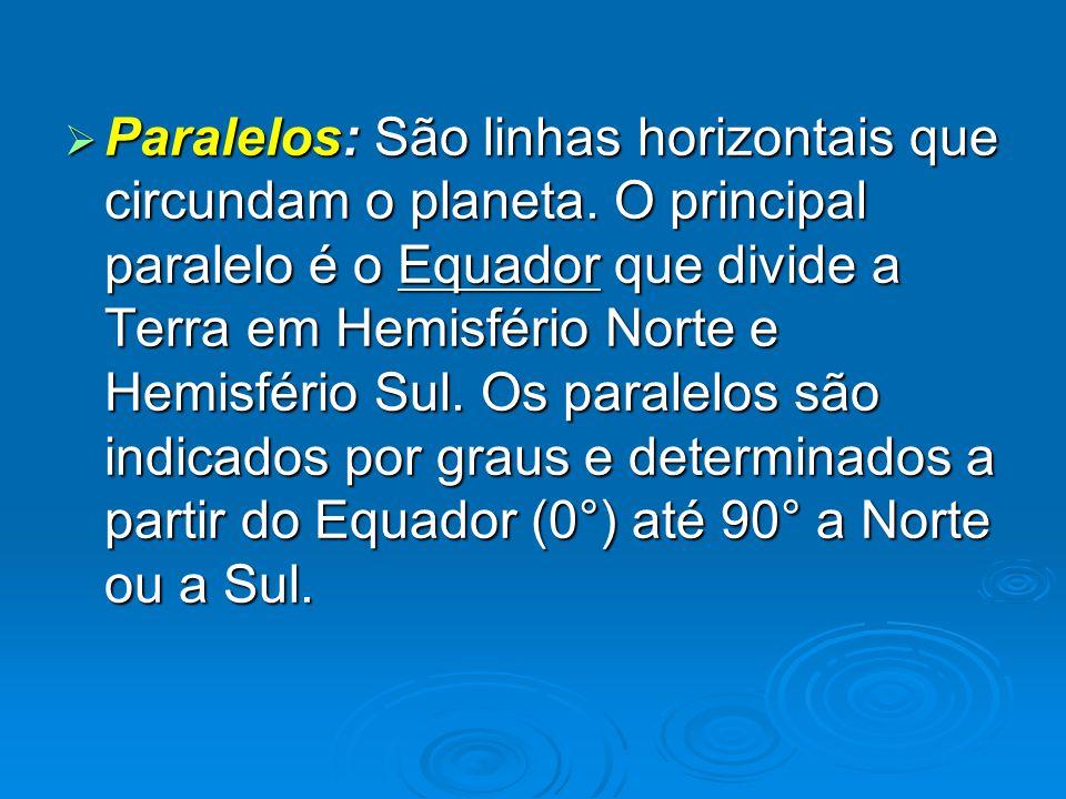  Paralelos: São linhas horizontais que circundam o planeta. O principal paralelo é o Equador que divide a Terra em Hemisfério Norte e Hemisfério Sul.