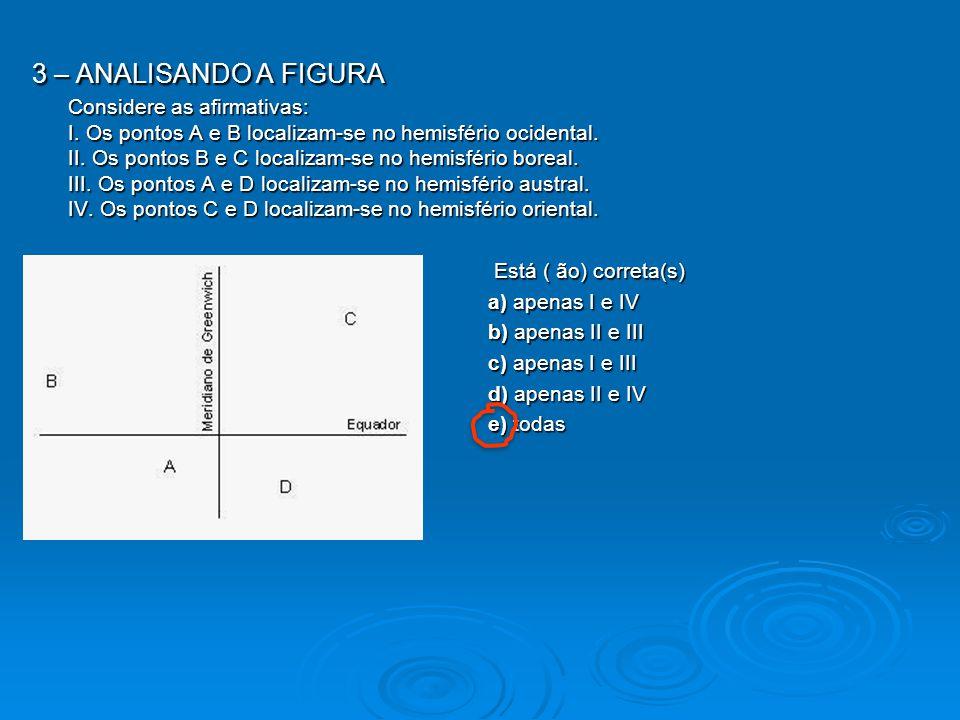 3 – ANALISANDO A FIGURA Considere as afirmativas: I. Os pontos A e B localizam-se no hemisfério ocidental. II. Os pontos B e C localizam-se no hemisfé