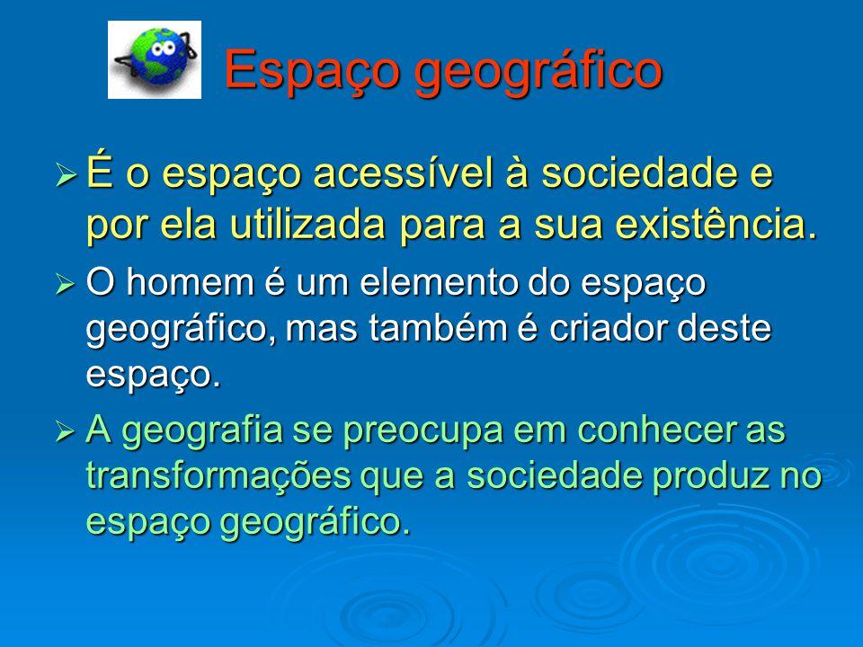 Espaço geográfico  É o espaço acessível à sociedade e por ela utilizada para a sua existência.  O homem é um elemento do espaço geográfico, mas tamb