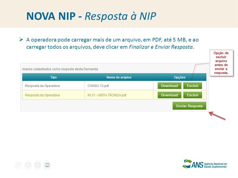NOVA NIP - Resposta à NIP  A operadora pode carregar mais de um arquivo, em PDF, até 5 MB, e ao carregar todos os arquivos, deve clicar em Finalizar e Enviar Resposta.