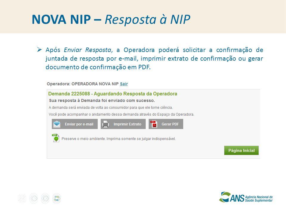 NOVA NIP – Resposta à NIP  Após Enviar Resposta, a Operadora poderá solicitar a confirmação de juntada de resposta por e-mail, imprimir extrato de confirmação ou gerar documento de confirmação em PDF.