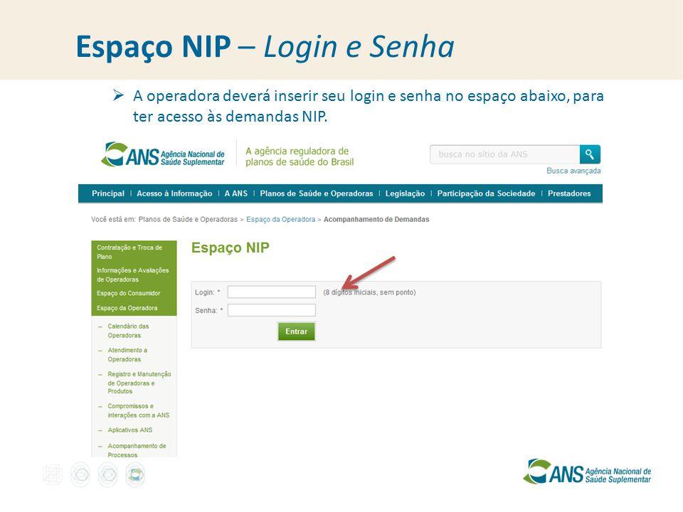 Espaço NIP – Login e Senha  A operadora deverá inserir seu login e senha no espaço abaixo, para ter acesso às demandas NIP.