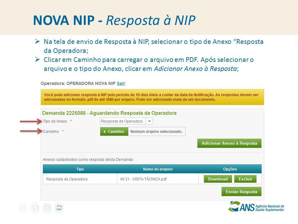 NOVA NIP - Resposta à NIP  Na tela de envio de Resposta à NIP, selecionar o tipo de Anexo Resposta da Operadora;  Clicar em Caminho para carregar o arquivo em PDF.