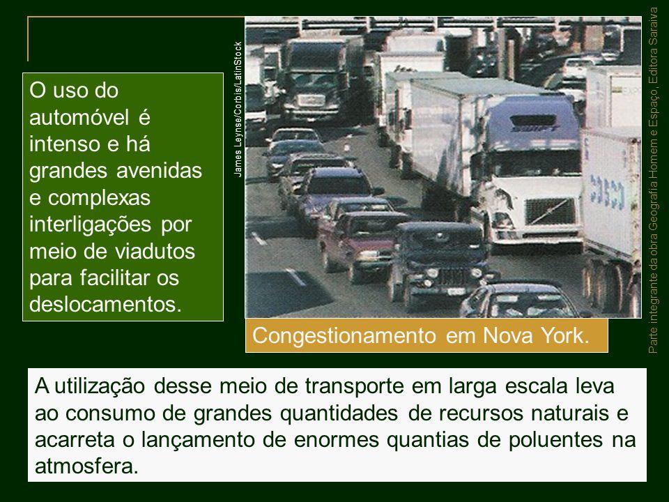 Parte integrante da obra Geografia Homem e Espaço, Editora Saraiva A utilização desse meio de transporte em larga escala leva ao consumo de grandes qu
