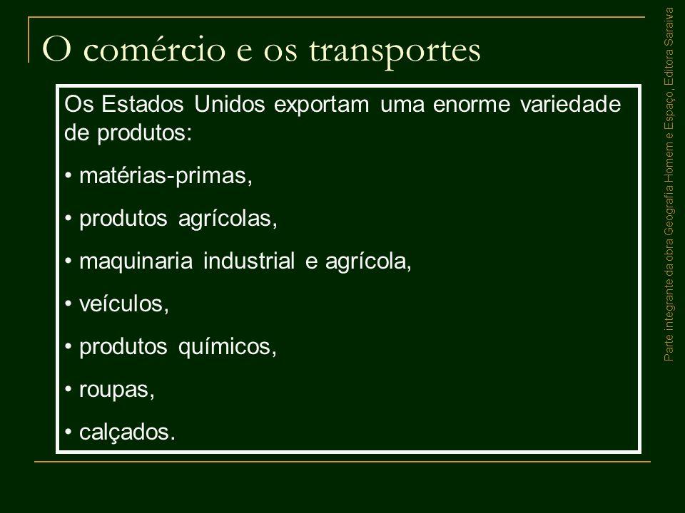 Parte integrante da obra Geografia Homem e Espaço, Editora Saraiva O comércio e os transportes Os Estados Unidos exportam uma enorme variedade de prod