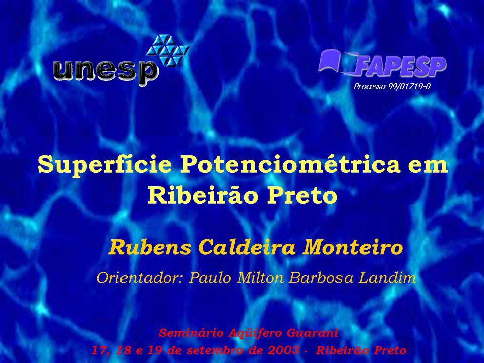 Superfície Potenciométrica em Ribeirão Preto Rubens Caldeira Monteiro Orientador: Paulo Milton Barbosa Landim Processo 99/01719-0 Seminário Aqüífero G