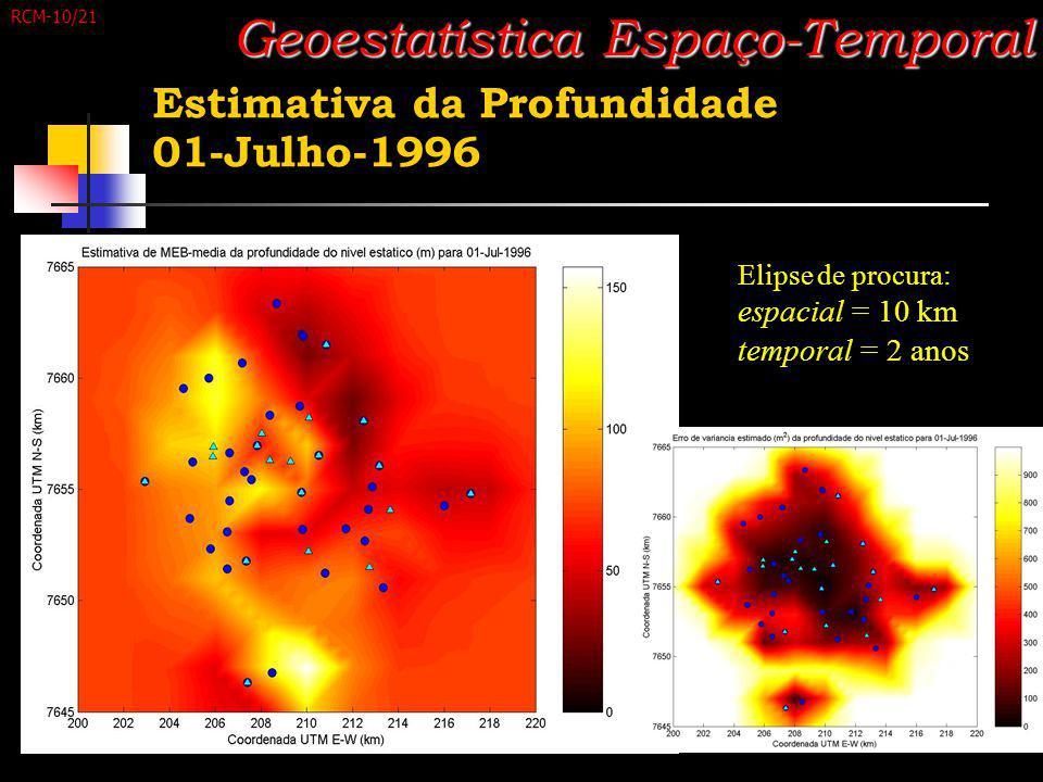Estimativa da Profundidade 01-Julho-1996 Geoestatística Espaço-Temporal Elipse de procura: espacial = 10 km temporal = 2 anos RCM-10/21