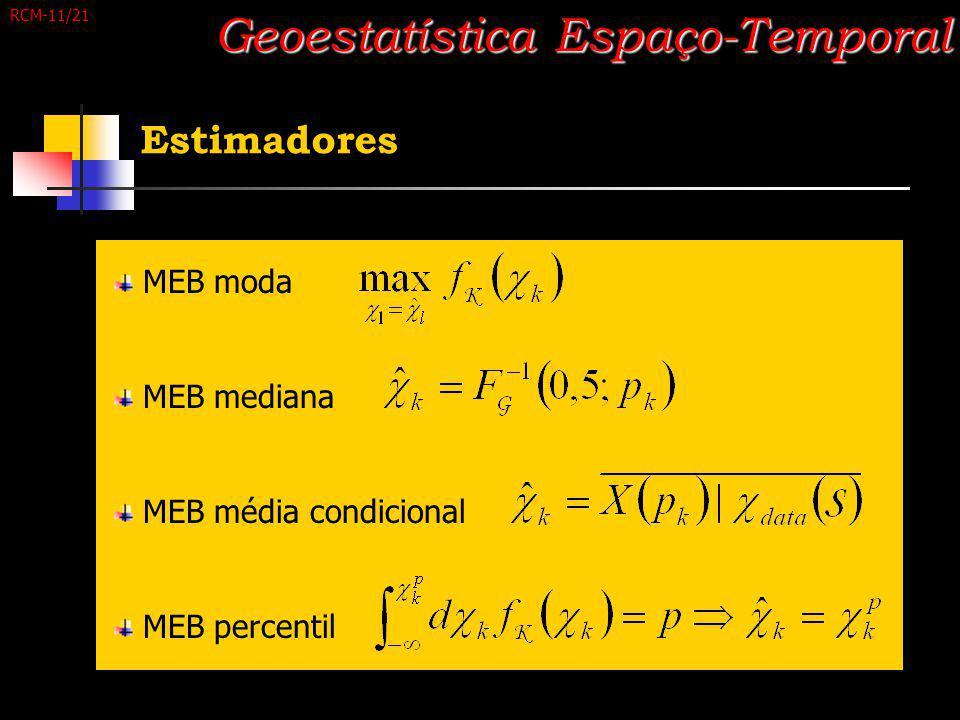 Estimadores Geoestatística Espaço-Temporal MEB moda MEB mediana MEB média condicional MEB percentil RCM-11/21