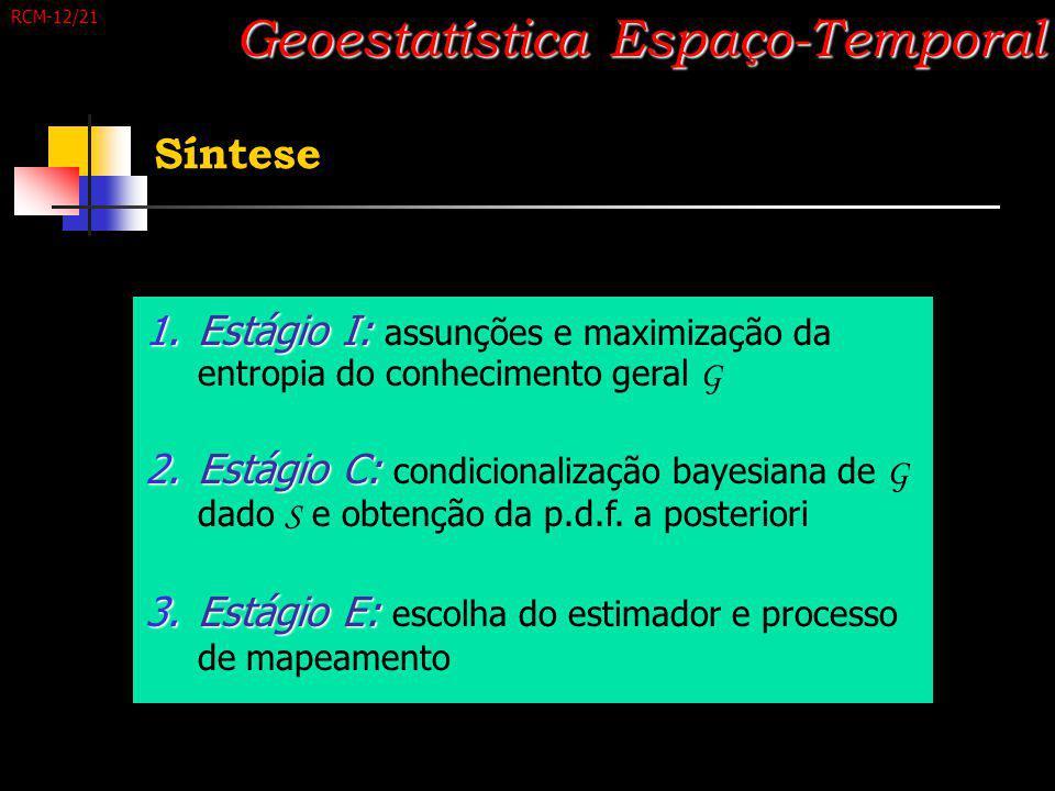 Síntese Geoestatística Espaço-Temporal 1.Estágio I: 1.Estágio I: assunções e maximização da entropia do conhecimento geral G 2.Estágio C: 2.Estágio C: