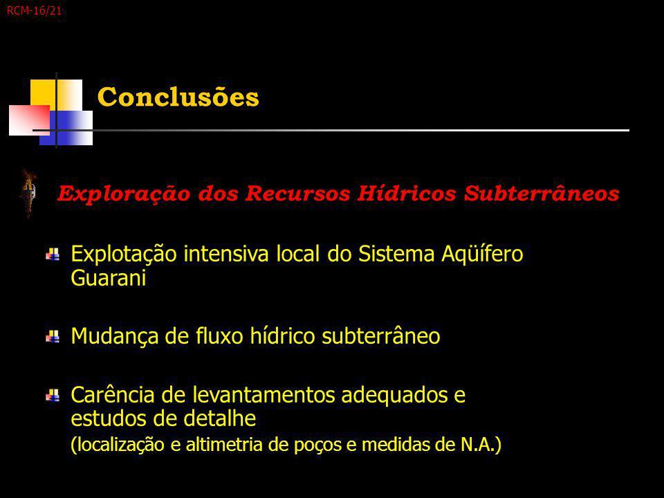 Conclusões Explotação intensiva local do Sistema Aqüífero Guarani Mudança de fluxo hídrico subterrâneo Carência de levantamentos adequados e estudos d