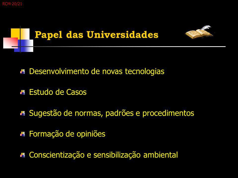Papel das Universidades Desenvolvimento de novas tecnologias Estudo de Casos Sugestão de normas, padrões e procedimentos Formação de opiniões Conscien