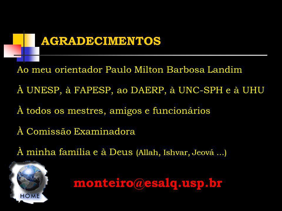 AGRADECIMENTOS Ao meu orientador Paulo Milton Barbosa Landim À UNESP, à FAPESP, ao DAERP, à UNC-SPH e à UHU À todos os mestres, amigos e funcionários