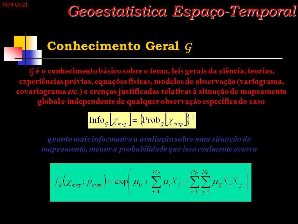 Conhecimento Geral G Geoestatística Espaço-Temporal quanto mais informativa a avaliação sobre uma situação de mapeamento, menor a probabilidade que is