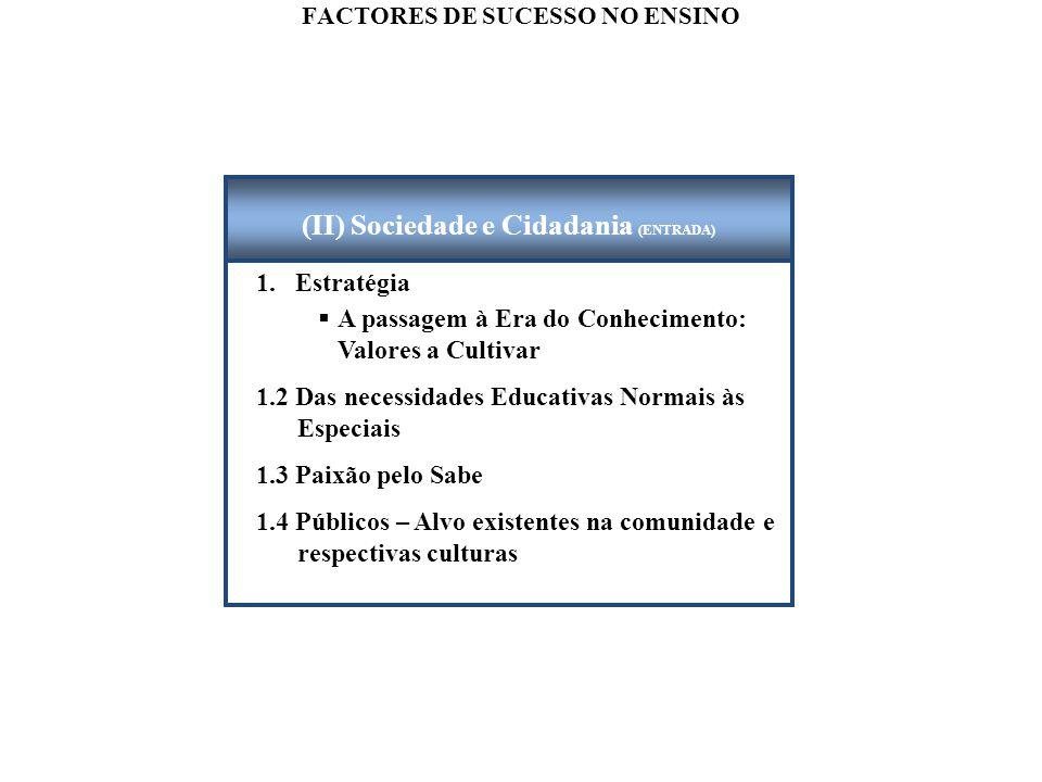 FACTORES DE SUCESSO NO ENSINO 1. Estratégia  A passagem à Era do Conhecimento: Valores a Cultivar 1.2 Das necessidades Educativas Normais às Especiai