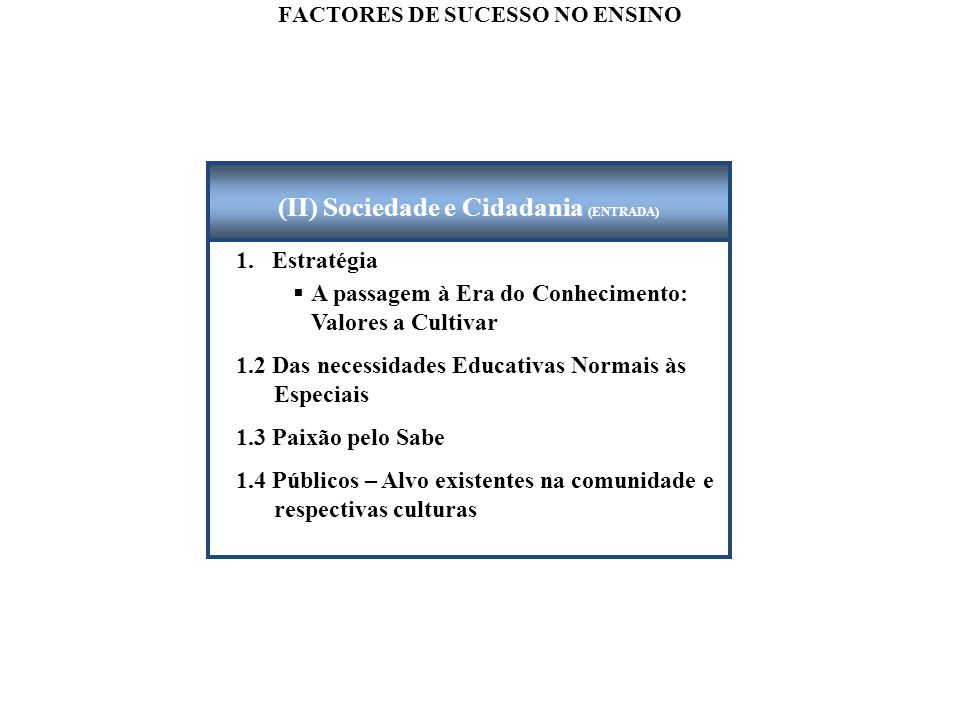 FACTORES DE SUCESSO NO ENSINO 1.