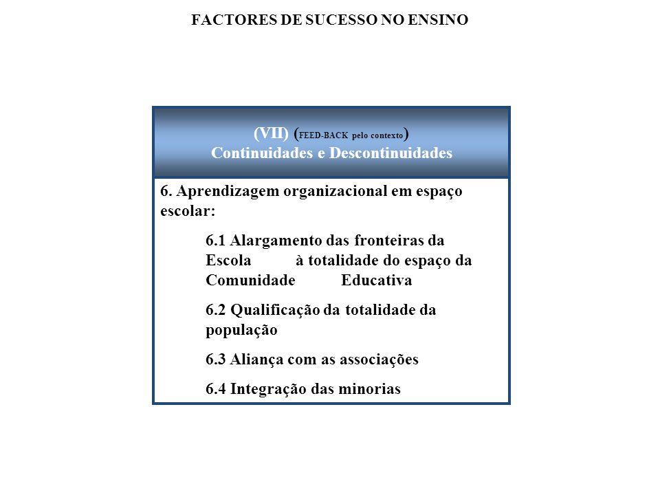 FACTORES DE SUCESSO NO ENSINO 6. Aprendizagem organizacional em espaço escolar: 6.1 Alargamento das fronteiras da Escola à totalidade do espaço da Com